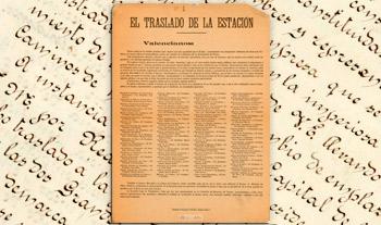 Petición de los vecinos del Ensanche de Valencia al Director General de la Compañía del Norte, solicitando el traslado de la estación de ferrocarril de Valencia