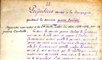 Perjuicios causados por la tercera guerra carlista a la Compañía de los Caminos de Hierro del Norte de España, entre los años 1872 y 1876