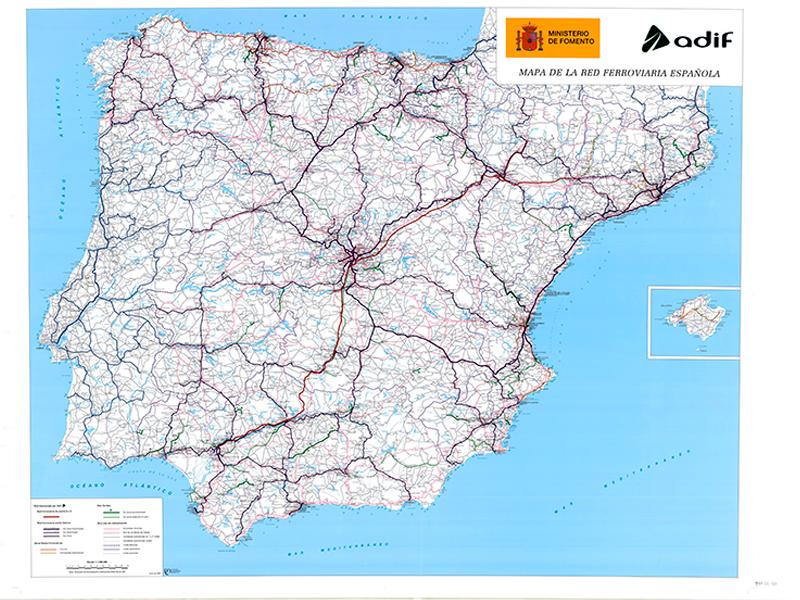 Mapa Ferroviario De España.Fondos Y Colecciones Cartografia