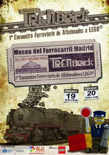 Exposición con réplicas de trenes y pasajeros construidos con piezas de LEGO
