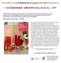 "Mesa redonda ""Archivo del Duelo….11 M"""