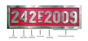 Pieza destacada: placa de numeración de la locomotora de vapor Renfe 242-F-2009